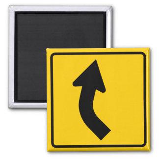 Muestra correcta de la carretera de la curva a con imán cuadrado