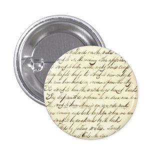 Muestra cursiva de la escritura de la caligrafía d pin redondo de 1 pulgada