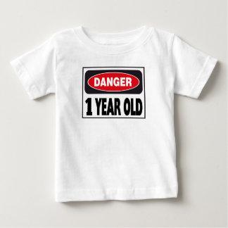 Muestra de 1 año del peligro playera de bebé