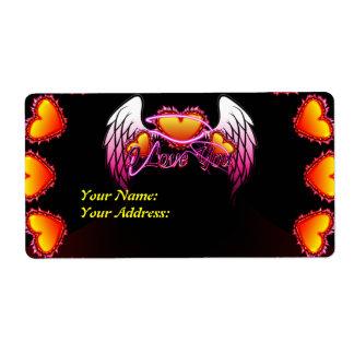 Muestra de 3 de los corazones alas del ángel te am etiquetas de envío