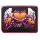 Muestra de 3 de los corazones alas del ángel te am funda para macbook pro