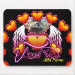 Muestra de 3 de los corazones alas del ángel te am alfombrillas de ratones
