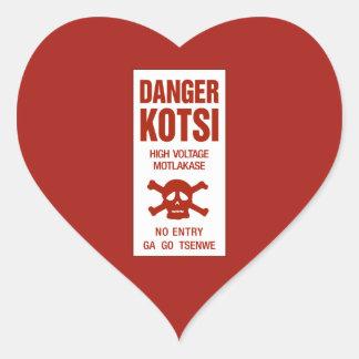 Muestra de alto voltaje del peligro, Botswana Pegatina En Forma De Corazón