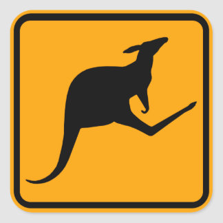 Muestra de Australia del canguro (paquete de 6/20) Pegatina Cuadrada