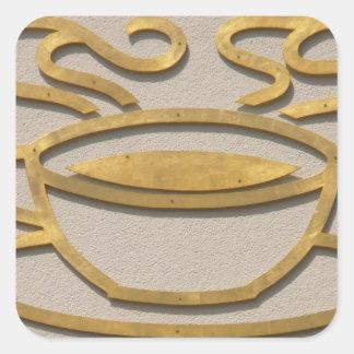 Muestra de cobre amarillo del café pegatina cuadrada