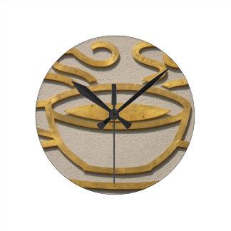 Muestra de cobre amarillo del café relojes de pared