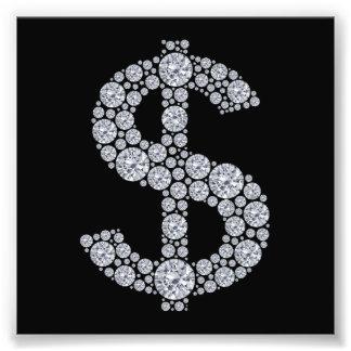 Muestra de dólar del diamante Bling Impresion Fotografica