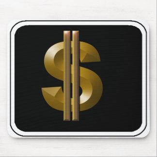 Muestra de dólar del oro alfombrilla de ratones