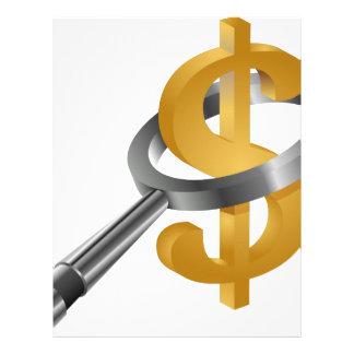 Muestra de dólar del oro de la lupa membrete
