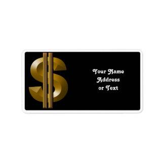 Muestra de dólar del oro etiqueta de dirección