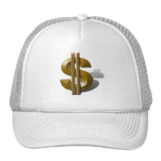 Muestra de dólar del oro gorras