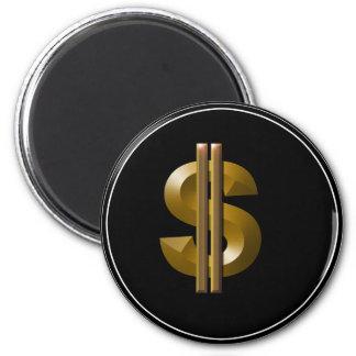 Muestra de dólar del oro imán redondo 5 cm