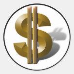 Muestra de dólar del oro pegatina redonda