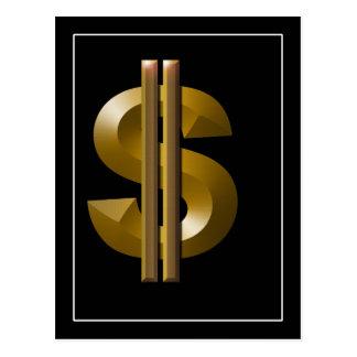 Muestra de dólar del oro tarjetas postales
