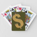 Muestra de dólar encrustada oro cartas de juego
