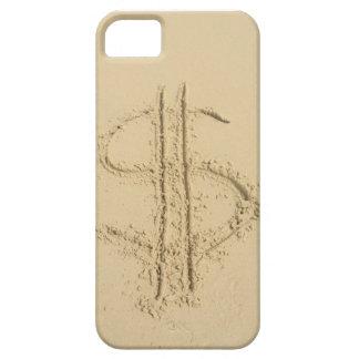 Muestra de dólar escrita en arena iPhone 5 fundas