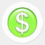 muestra de dólar etiquetas redondas
