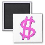 Muestra de dólar rosada iman de frigorífico