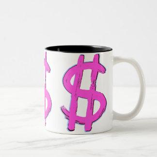 Muestra de dólar rosada tazas