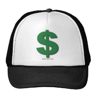 Muestra de dólar verde con estilo biselado gorros bordados