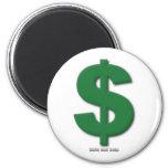 Muestra de dólar verde con estilo biselado imán redondo 5 cm