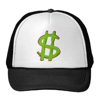 Muestra de dólar verde gorras de camionero