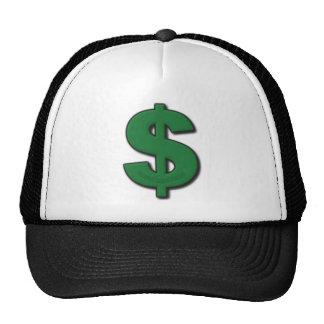 Muestra de dólar verde gorro de camionero