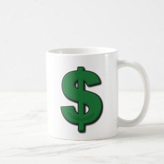 Muestra de dólar verde taza