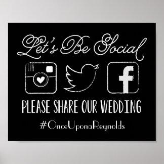 Muestra de Hashtag del boda (elija su color) Póster
