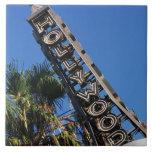 Muestra de Hollywood, Los Ángeles, California Azulejo Cuadrado Grande