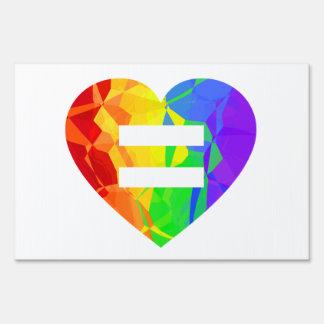 Muestra de igualdad de la boda del corazón del letreros
