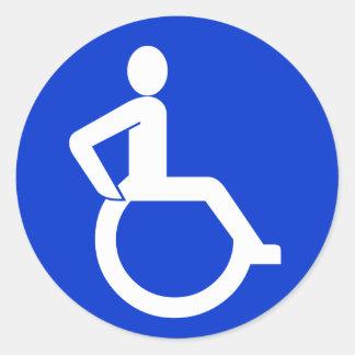 Muestra de la accesibilidad de la silla de ruedas pegatina redonda