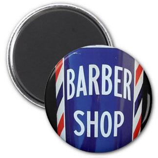 Muestra de la barbería del vintage imán redondo 5 cm