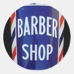 Muestra de la barbería del vintage pegatina redonda
