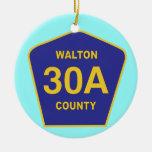 Muestra de la carretera 30Al condado de Walton la Adorno Navideño Redondo De Cerámica