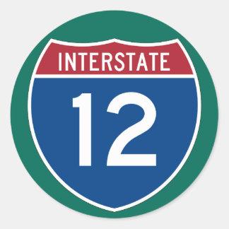 Muestra de la carretera de la autopista 12 (I-12) Pegatina Redonda