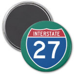 Muestra de la carretera de la autopista 27 (I-27) Imán Redondo 7 Cm