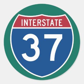 Muestra de la carretera de la autopista 37 (I-37) Pegatina Redonda