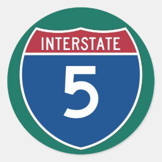 Muestra de la carretera de la autopista 5 (I-5) Pegatina Redonda