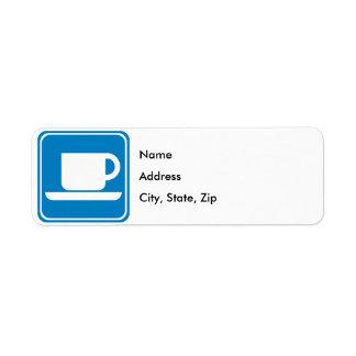 Muestra de la carretera de la cafetería etiquetas de remite