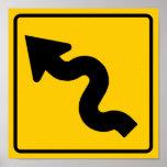 Muestra de la carretera de la carretera con curvas póster