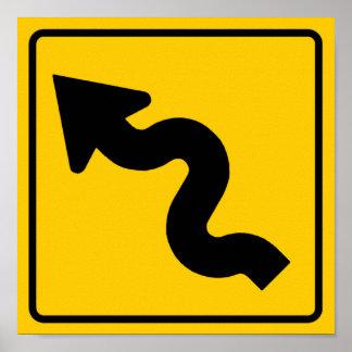 Muestra de la carretera de la carretera con curvas poster