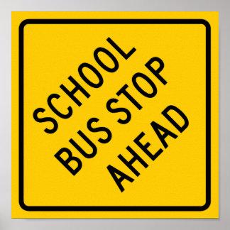 Muestra de la carretera de la parada de autobús es póster