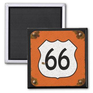 Muestra de la carretera de la ruta 66 imán cuadrado