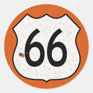 Muestra de la carretera de la ruta 66 pegatina redonda
