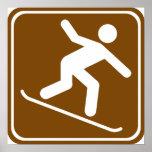 Muestra de la carretera de la snowboard póster
