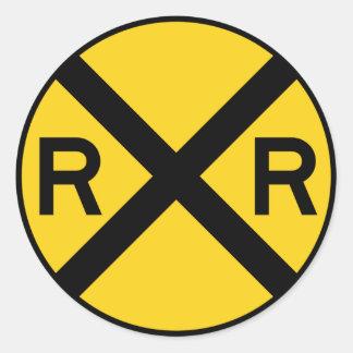 Muestra de la carretera de la travesía de ferrocar etiquetas redondas