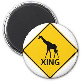 Muestra de la carretera de la travesía de la jiraf imán redondo 5 cm