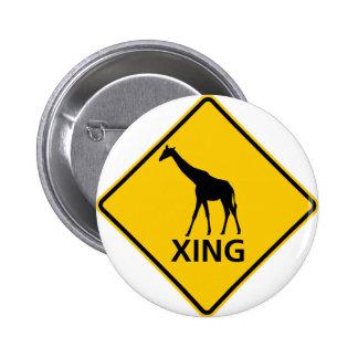 Muestra de la carretera de la travesía de la jiraf pin redondo de 2 pulgadas