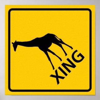 Muestra de la carretera de la travesía de la jiraf póster